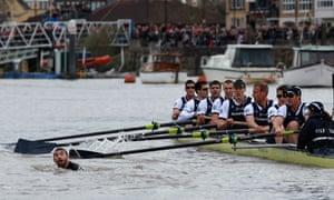Trenton Oldfield interrupts Boat Race