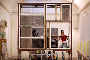 Turner nominees: Spartacus Chetwynd seen installing her work, The Folding House