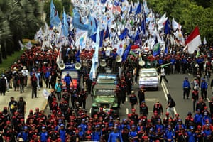 May Day 2012: Jakarta, Indonesia: Thousands of workers march on International Labour Day
