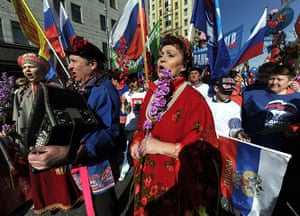 May Day 2012: Moscow: Participants sing and play accordion