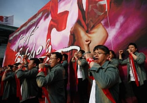 May Day 2012: Seoul: Workers from KCTU sing at a rally