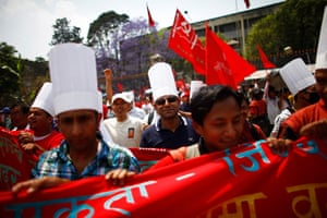 May Day 2012: Katmandu, Nepal: Activists from various trade unions during a rally
