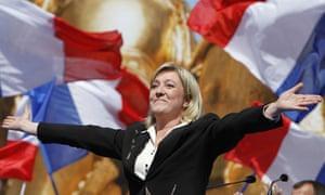 Marine Le Pen at Place de l'Opéra, in central Paris