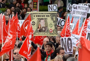 May Day rallies 2012: Madrid, Spain: Demonstrators join a protest against economic policies