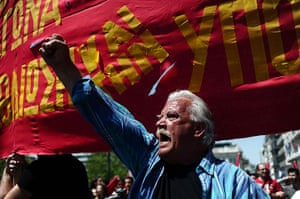 May Day rallies 2012: Athens, Greece: A protester shouts slogans during a demonstration