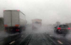 flooding in UK: M5 motorway near Tewkesbury