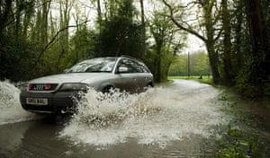 flooding in UK: Stratfield Turgis, near Reading