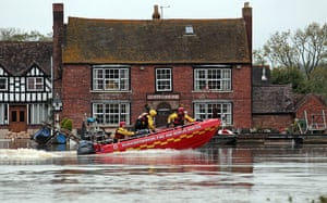 flooding in UK: A Gloucestershire Fire And Rescue Service boa