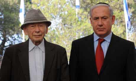 Benzion Netanyahu, left