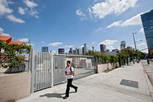 Rodney King riots: School on Olympic Blvd, near Albany, Los Angeles, April 2012