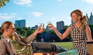 Couple toasting with wineglasses in Central Park
