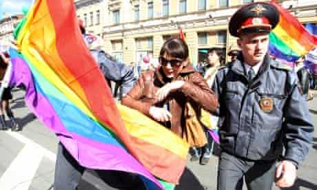 Police detain a gay rights activist in St Petersburg