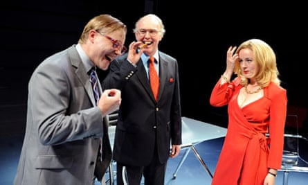 Samuel West, Tim Pigott-Smith and Amanda Drew in the play Enron