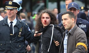 Occupy Wall Street protester arrested by New York City police during a May Day demonstration