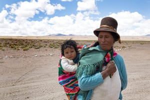 Bolivia travel: A Woman and child in the Eduardo National Park