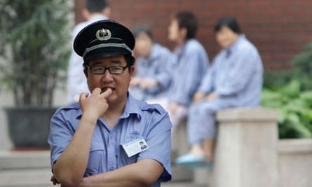 A security guard outside Chaoyang hospital, China