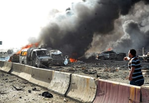 Damascus Bombs: Smoldering cars at the scene