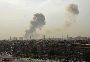 Damascus Bombs: Smoke rises over the city of Damascus after the explosions