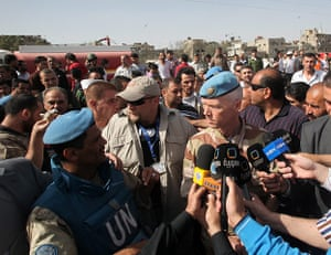Damascus Bombs: The head of the UN observers mission, Robert Mood, speaks to reporters