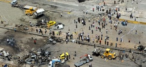 Damascus Bombs: An aerial view of the site of twin blasts in Damascus
