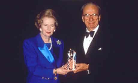 Margaret Thatcher and Rupert Murdoch at an awards dinner in 1991
