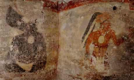 Figures painted on the walls of a Mayan house