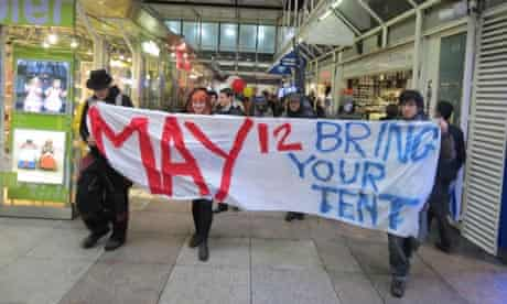 Occupy London protesters enter Liverpool Street station ahead of their weekend of action