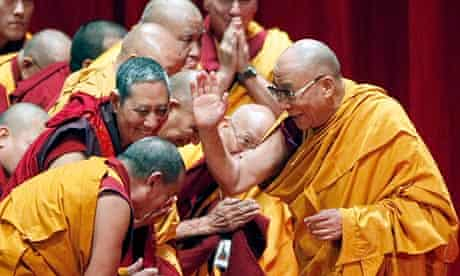 The Dalai Lama greets Buddhist monks in New York