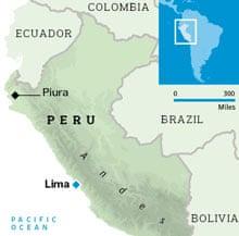 Location of Piura in Peru