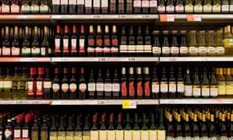 Bottles of red wine in a shop