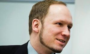 Anders Behring Breivik smiles in court during his trial in Oslo