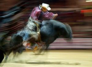 24 hours: Bratislava, Slovakia: A long exposure photo of a bull rider