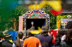 24 hours: London, England: A puppet of Queen Elizabeth II in a Punch & Judy show