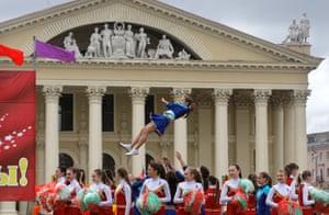 24 hours: Minsk, Belarus: Schoolchildren perform during an official ceremony