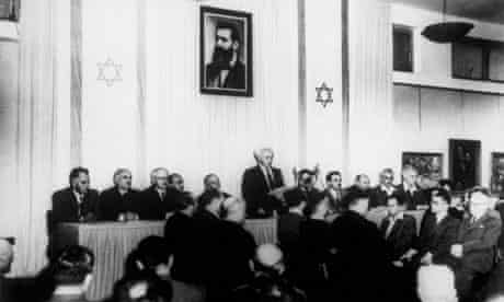 David Ben Gurion reads out the proclamation of independence and creation of the Jewish State of Israel, 1948.