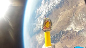 A month in space: NASA handout photo of Camilla the chicken at 124,800 feet above California