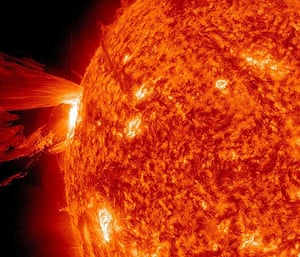 A month in space: eruption shot off the east limb of the sun