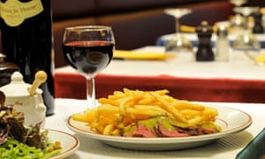 Steak and chips, the only dish on the menu at Le Relais de Venise