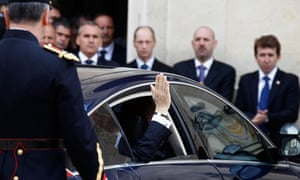 France's outgoing President Sarkozy leaves the Elysee Palace
