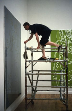 British pavilion: Gary Hume installing his exhibition in 1999