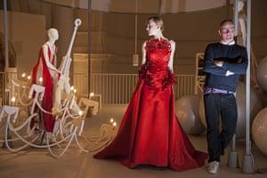 ballgowns at the V&A: Model Zhanna Emelyanova and designer  Giles Deacon