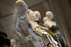 ballgowns at the V&A: A dress by Gareth Pugh made with silvered leather