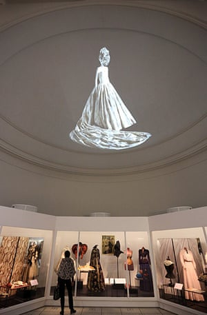 ballgowns at the V&A: An image of a dress is projected