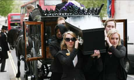 Mock funeral stunt by Science for the Future