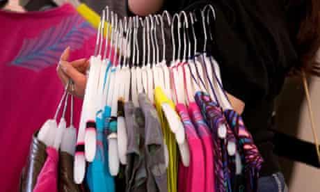 fashion garments on hangars