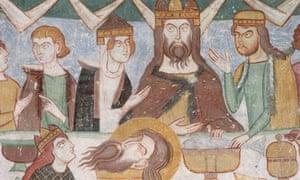 Detail of a Carolingian fresco of Banquet of Herod.