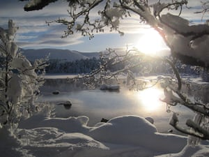 Your Pictures: Your Pictures: The bright sunlight reflecting on the frozen Loch Morlich