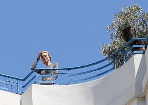 Cannes film festival: Eva Herzigova is seen on the roof of the Martinez Hotel Cannes