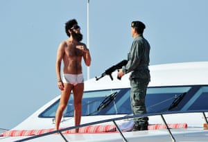 """Cannes film festival: """"The Dictator""""  Admiral General Aladeen spotted on a yacht at Hotel Du Cap"""