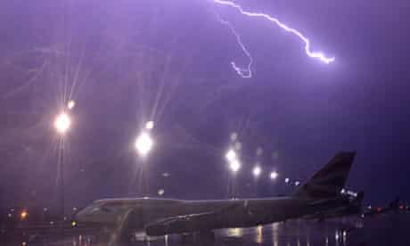 Lightning prevents planes from taking off in Johannesburg, South Africa.